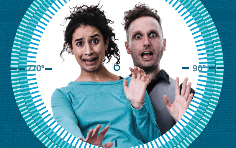 A man and a woman with shocked and worried facial expressions, looking directly at the camera, within a circle of degrees.