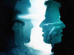An image of overlapping head silhouettes, containing images of the ocean, a lighthouse and floating bodies.