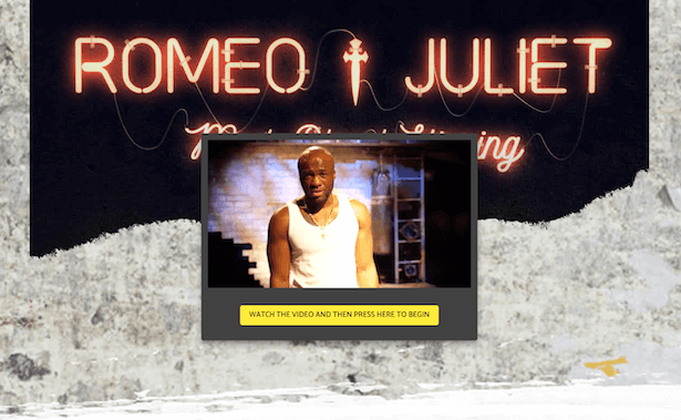 An image of an online resource for Romeo and Juliet, showing a video clip of a young man in a white vest looking at the camera.