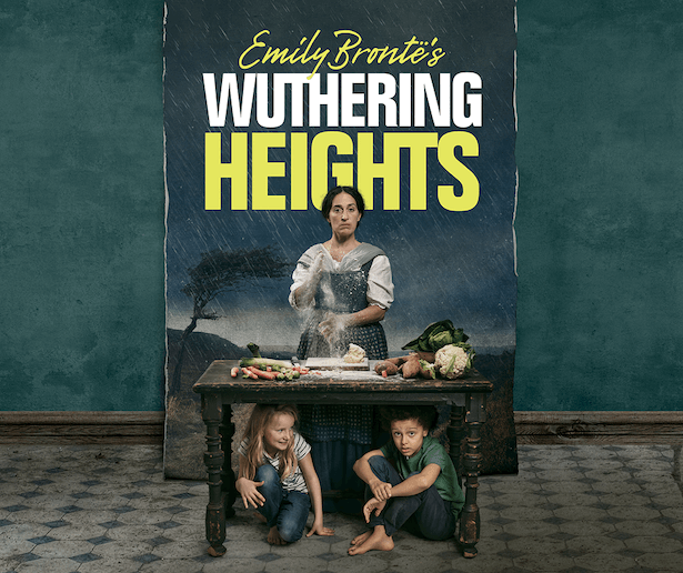 A woman stands behind a table brushing flour off her hands. A variety of vegetables are laid out on the table. A young girl and boy crouch and sit underneath the table. The text reads Emily Bronte's Wuthering Heights