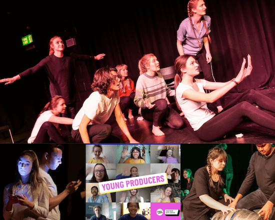 A collage of young people performing on stage and on a Zoom video call.