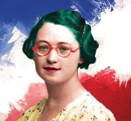 An image of a woman with green hair and red glasses, against the colours of the French flag.