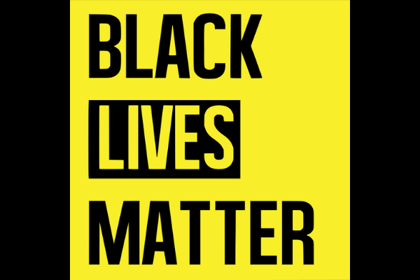 A yellow and black image which reads Black Lives Matter