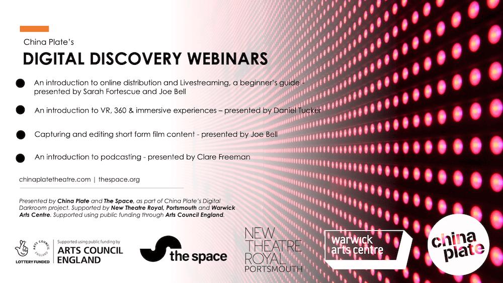 A presentation slide listing the Digital Discovery Webinars