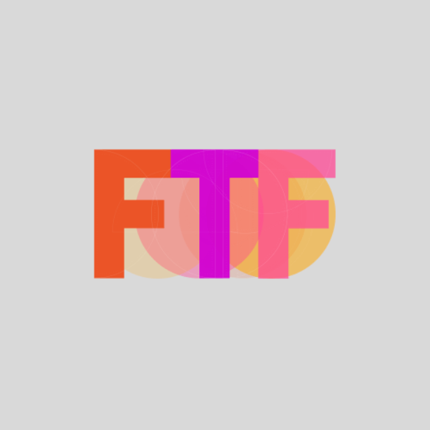 Grey background with the letters 'FTF' in orange, purple and pink.
