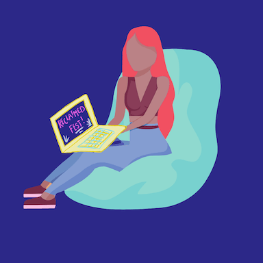 A graphic style image of a young woman sitting on a beanbag with a laptop on her knees which reads 'RECLAIMED Fest'