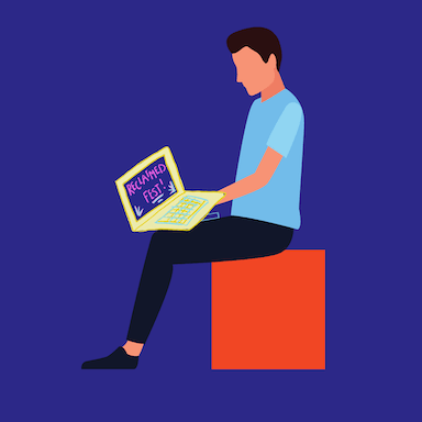 A graphic style image of a young man sitting on a box with a laptop on his knees which reads 'RECLAIMED Fest'