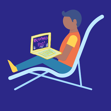 A graphic style image of a young man sitting on a reclined chair with a laptop on his knee which reads 'RECLAIMED Fest'