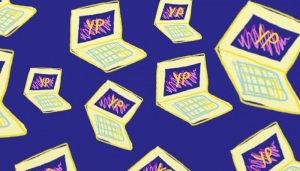 An image of hand drawn yellow laptops on a purple background, each one has the letters YP on screen.