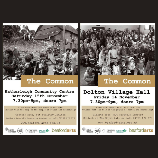 Image of two flyers for The Common, showing black and white photographs of villagers in Hatherleigh and Dolton