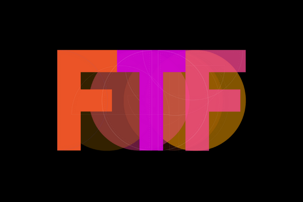 Black background with the letters 'FTF' in orange, purple and pink.