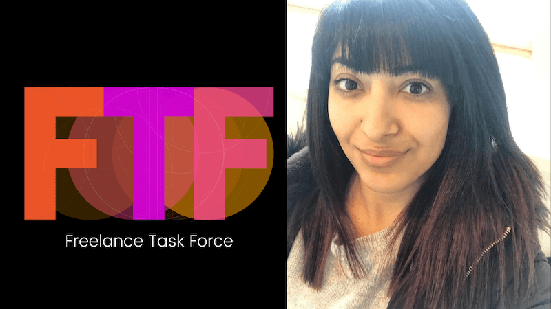 Black background with the letters 'FTF' in orange, purple and pink, text reads 'Freelance Task Force, next to an image of a young woman who is looking directly at the camera.