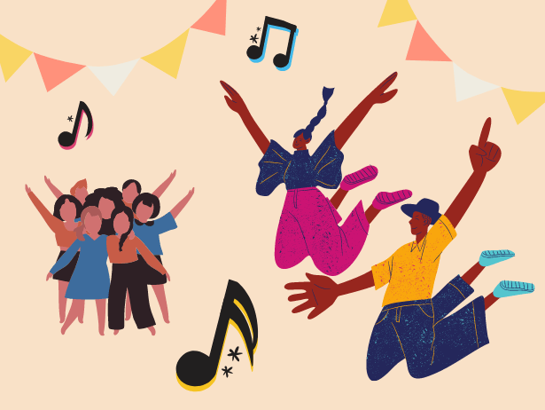 Graphic illustrations of two individuals jumping with their arms in the air, next to a group of people huddled together, surrounded by musical note and bunting motifs.
