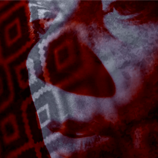 Dark black and red patterns cover an image. A woman's face looks away from the camera. The patterns cover the image of her face, creating a distorted effect.