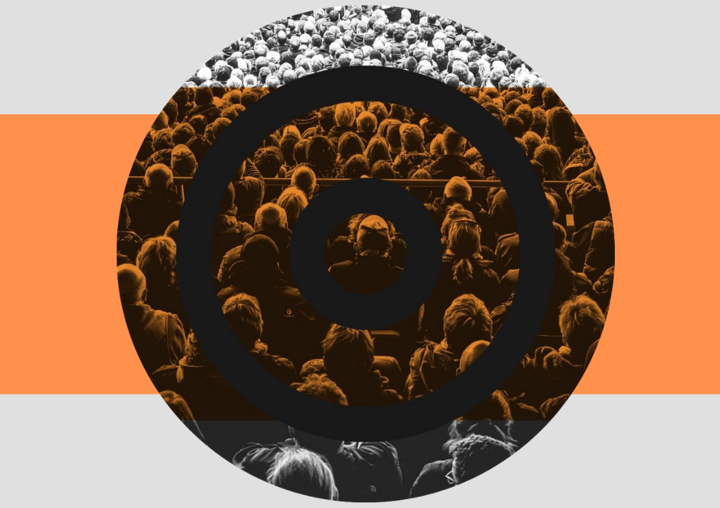 A circular image with an image of a crowd with their back to the camera