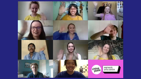 A group of young people on Zoom, waving to one another.