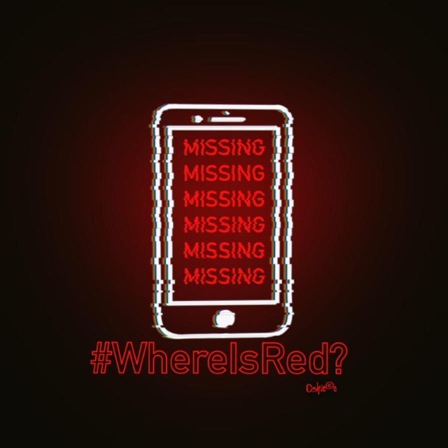 A graphic image of a mobile phone with the word 'Missing' repeated 6 times down the screen. The hashtag WhereisRed? appears beneath it.