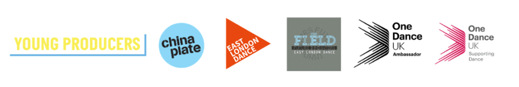 Logos for Young Producers, China Plate, East London Dance, The Fi.ELD, One Dance UK Ambassador and One Dance UK