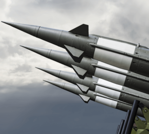Nuclear Missiles With Warhead Aimed at Gloomy Sky.