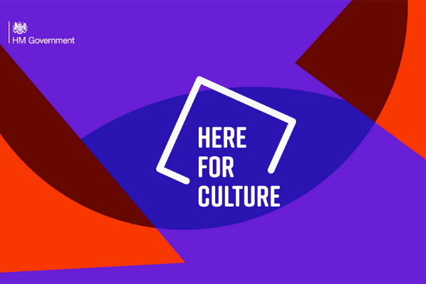 Image with text which reads 'Here for Culture' against overlapping coloured shapes.