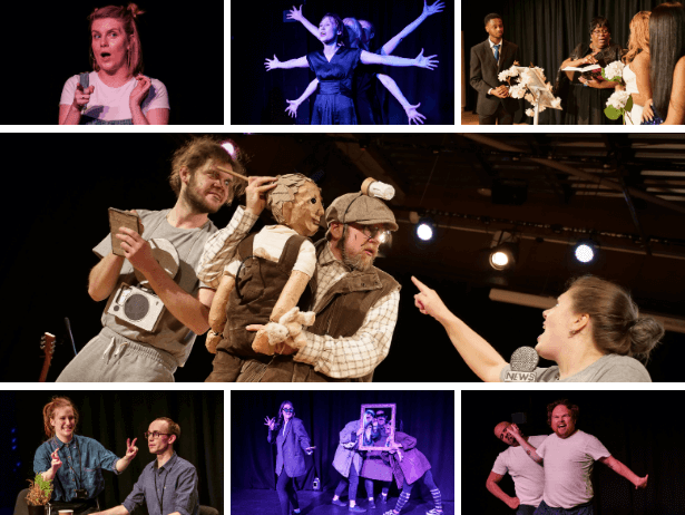 A collage of images of individuals and groups of people performing on stage.