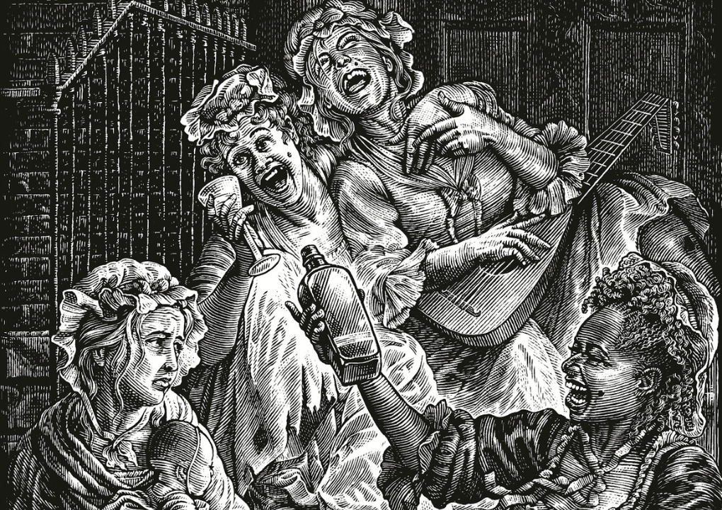 An illustrated drawing of women drinking, laughing and playing music, one woman is holding a baby.