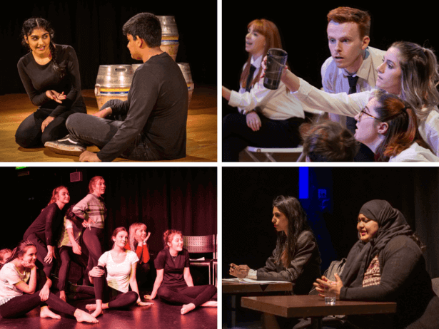 A collage of images of young people performing on stage.