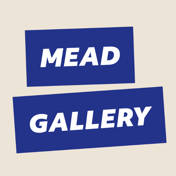 Image says 'MEAD GALLERY' in white letters within blue rectangles on a beige background.