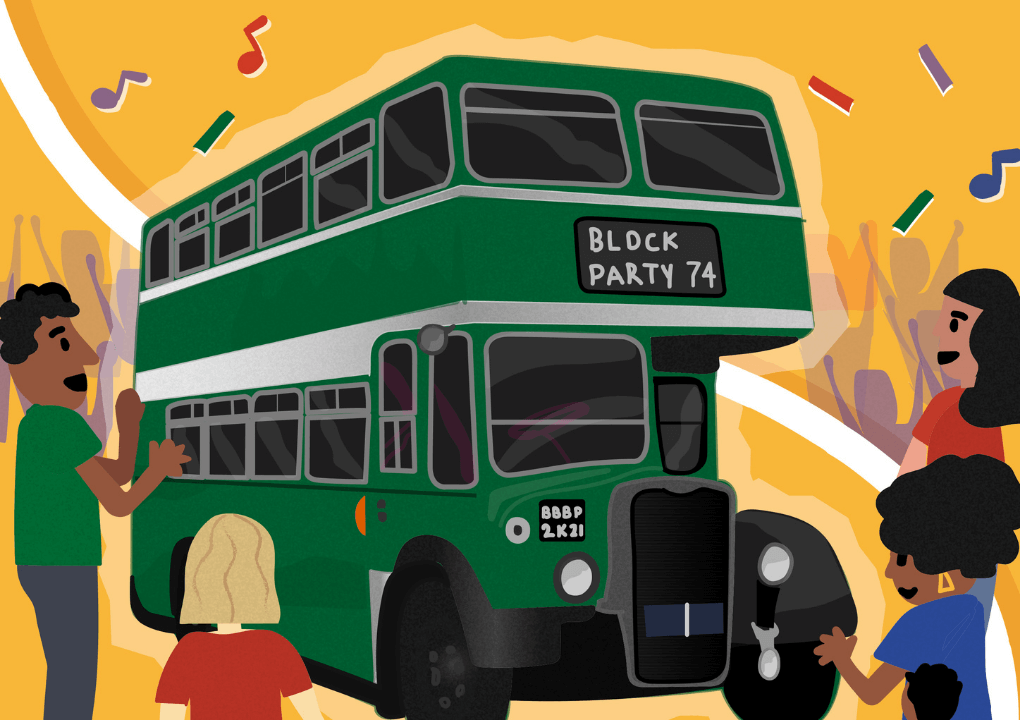 Illustrated drawing of a green double decker bus against a yellow background, surrounded by several people.