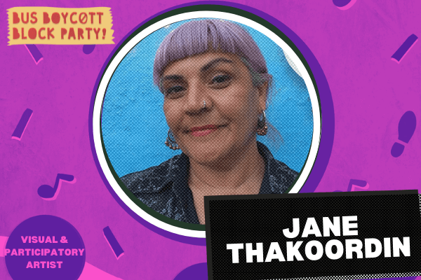 A photograph of a woman, looking directly to the camera, within a circle frame upon a purple background. Text reads 'Jane Thakoordin Visual & Participatory Artist'
