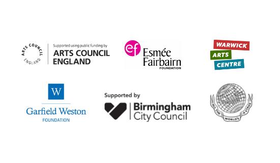 Logos for Arts Council England, Esmee Fairbairn Foundation, Warwick Arts Centre, Garfield Weston Foundation, Birmingham City Council and Garrick Charitable Trust.