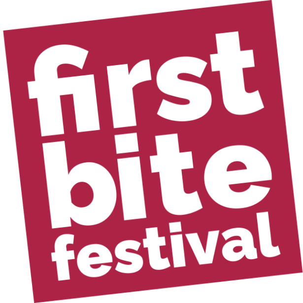 Cut out letters in a red square which read 'First Bite Festival'