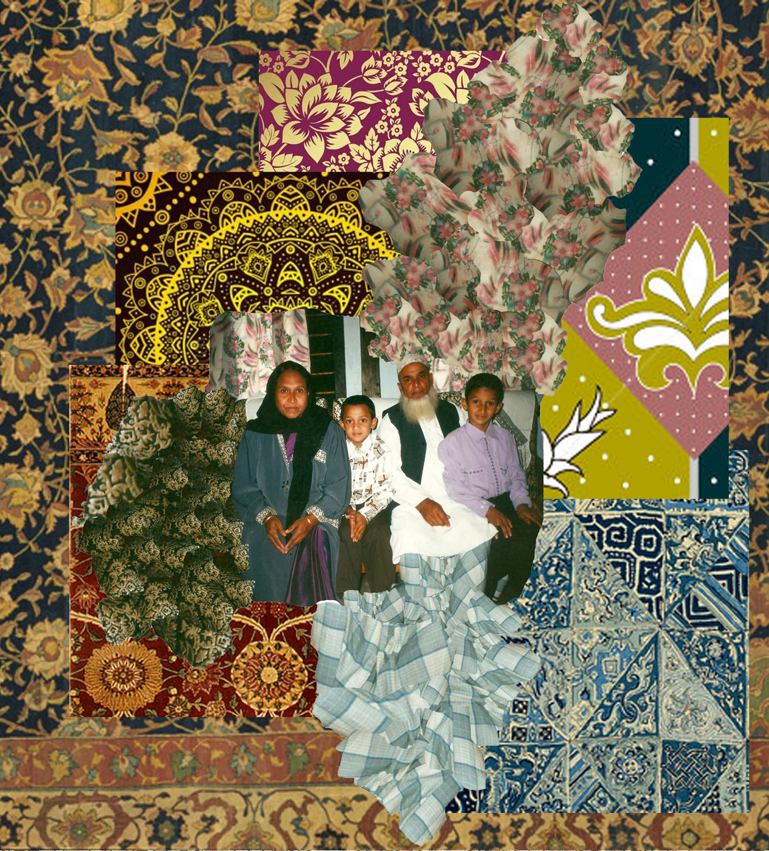 A collage image of patterns with a family photograph in the centre
