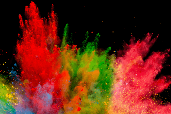 An explosion of colourful powder.