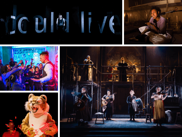 A collage of images showing people performing on stage.